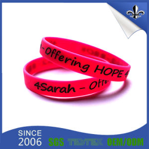 Manufacture Product Debossed Silicon Wristband with Custom Design pictures & photos