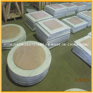 Custom Cheap Guangxi White Marble/Stone Round Coffee/Dinner Table Top Countertop pictures & photos