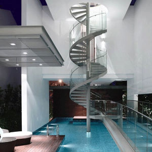 modern Spiral Staircase with Glass Balustrade pictures & photos