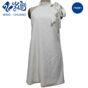 White Newstyle Stan Collar Bowknot Fashion Women Leisure Long Dress pictures & photos