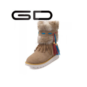 Gd Women Winter Leather Calf Boots with Side Suede Fringe Big Size Snow Boot pictures & photos