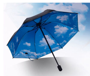 21*8k 3 Fold Promotion Sun Umbrella with Different Design printing pictures & photos
