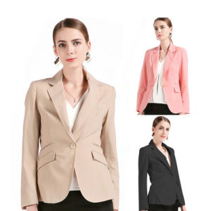 Women One Button Casual Style Blue White Striped Suit Jacket pictures & photos