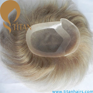 Remy Blond Soft 100% Human Hair System Mono Base Toupee pictures & photos