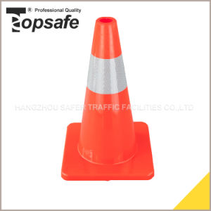 18′′ Flexible PVC Traffic Cone with 2 Reflective Tapes (S-1231) pictures & photos