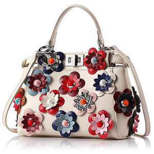 New Style 100% Genuine Leather Handbag Stylish Lady Shoulder Bags with Colorful Flower Emg5049 pictures & photos