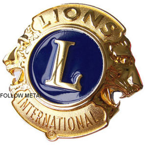 Souvenir Badge with Gold Plated for International Lions Gift