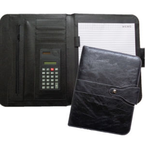 Luxury Black Leather Portfolio Briefcase Folder for Business pictures & photos