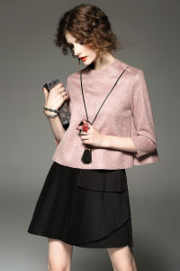 Customization Lady Girl Long Sleeve Faux Suede Mini Party Fishtail Dress pictures & photos