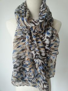Lady Printing Coffee Color Scarf, Women Fashion Accessories Voile Shawls pictures & photos