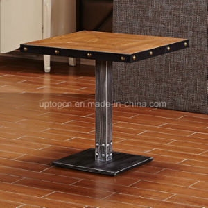 Wholesale Square Wood Restaurant Table with Cast Iron for Dining (SP-RT549) pictures & photos