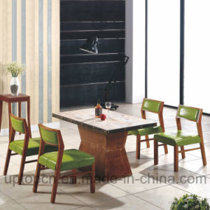 Wooden Restaurant Furniture Set with Green Leather Chair and Rectangle Table (SP-CT686) pictures & photos