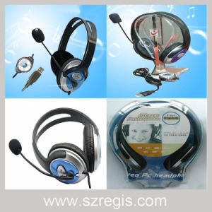 USB Wired Stereo Headset Headphone with Microphone pictures & photos