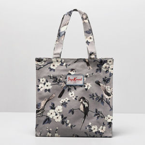 Grey PVC Canvas Birds Pattern Small Size Handbag (2293-25)