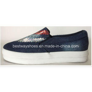 Fashionable Canvas Shoes with Paillette Women Shoe Lady Shoe pictures & photos