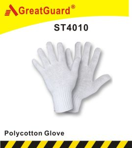 7 Gauge Knitted White Polycotton Glove (ST4010) pictures & photos