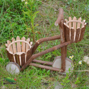 home decoration wheel wood flower pot holder for garden