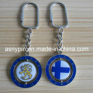 Metal Round Rolling Key Chain, Finland Flag (ASNY-KC-TM-025) pictures & photos