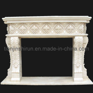 Beige Marble Stone Leaf Carving Fireplace (FRP520) pictures & photos
