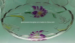 Machine-Made Clorful Glass Fruit Plate (P-HG09) pictures & photos