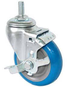 Threaded Stem PU Caster with Side Brake (Blue) pictures & photos