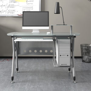Home Office Glass Computer Table with Modern Shape for Study Room pictures & photos