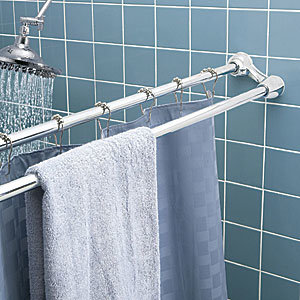 China Double Extensible Shower Curtain Rod And Towel Bar