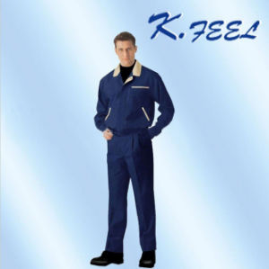 Men′s Polyester Cotton Navy Factory Workwears (KFZF-030)