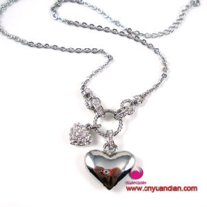 High Quality Glass Stone Heart Classic Metal Jewelry Pendant