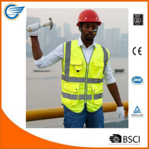 Class 2 High Visibility Zipper Front Safety Vest with Reflective Strips pictures & photos