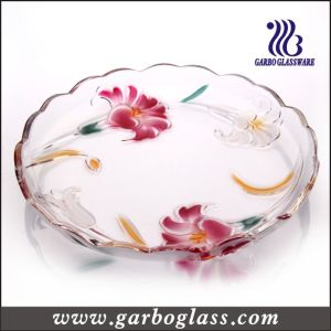 Big Lily Decorative Glass Plate for Sell (GB1716LB/PDS) pictures & photos