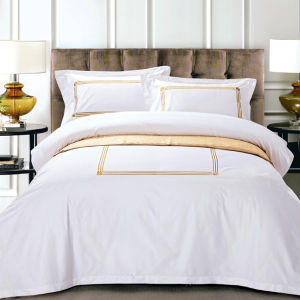 Customized Embroidery White Hotel Duvet Cover Sets (DPFB80111) pictures & photos