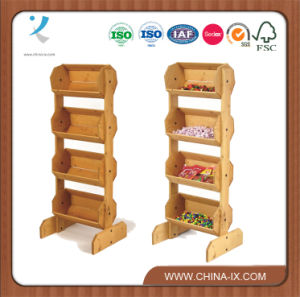 Floor Standing 4 Tiered Wooden Display with 4 Bins pictures & photos