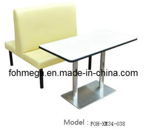 Restaurant Double Sides Beige Leather Booth (FOH-XM34-038) pictures & photos