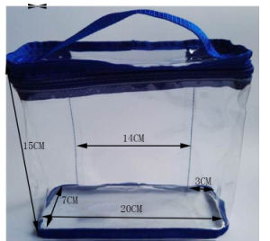 Custom Clear PVC Hand-Held Bag with Blue Tipping pictures & photos