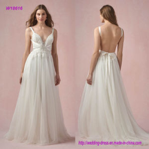 W18616 The Ballet-Inspired Gown Features a Plunging V-Neckline with Crisscross Straps and a Low Open Back Wedding Dress with Sweep Train pictures & photos