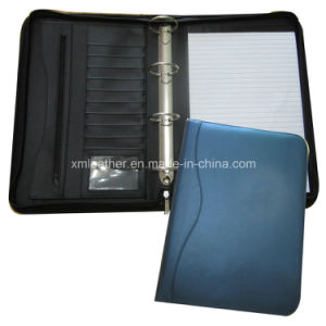 Zip A4 Compendium 4 Ring Binder Leather File Folder with Notepad pictures & photos