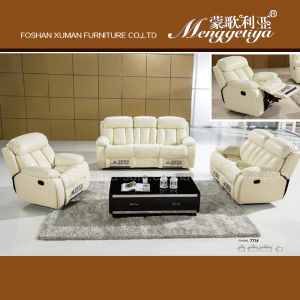Electric Recliner Top Grain Leather Sofa (777#)