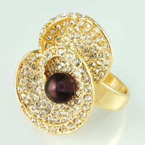 14k Gold Plating and Flower Design for Fashion Jewellery Ring (A03072R1W)