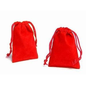 Small Red Satin Drawstring Gift Pouch pictures & photos
