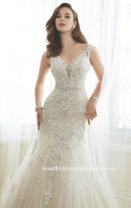 A-Line Bridal Gown Lace Beads Hollow Back Wedding Dress Y11643 pictures & photos