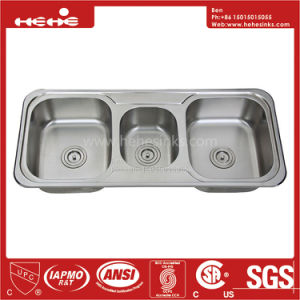 43-1/4 X 18-7/8 Inch Stainless Steel Top Mount Triple Bowl Drain Board Kitchen Sink pictures & photos