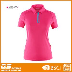 Women′s Polo Zipper Collar T-Shirt pictures & photos