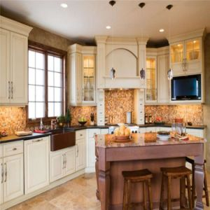 American Style Beige Customized Solid Wood Kitchen Cabinet Design