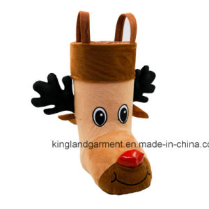 Polyester High Quality Christmas Decoration Reindeer Style Brown Candy Boot pictures & photos