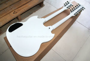 Hanhai Music / 12 Strings+6 Strings 2-Neck White Electric Guitar pictures & photos