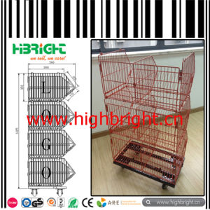 Supermarket Plastic Coated Stacking Wire Basket Stand pictures & photos
