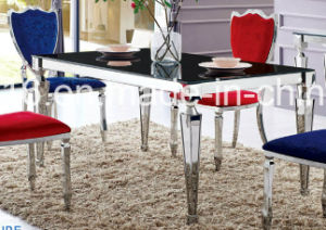 Modern Furniture Glass Dining Room Table with Stainless Steel pictures & photos
