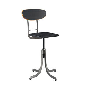 Popular Black Dining Adjustable Industrial Stool with Wooden Back (FS-Scew14034-1) pictures & photos
