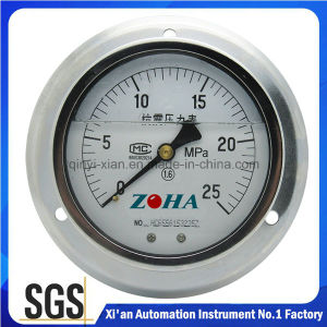 Back Connection Oil Filled Shock Resistance Pressure Gauge with Flange pictures & photos